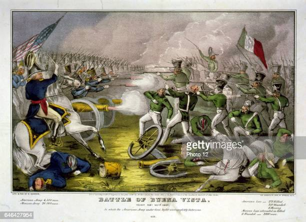 Mexican-American War 1846-1848 Battle of Buena Vista, also known as Battle of Angostura, 22-23 February 1847. Mexicans, in green, defeated by the...