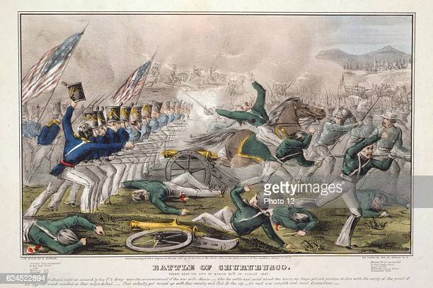 Mexican-American War 1846-1848 : Battle of Churubusco, 10 August 1847, fought _5 miles from Mexico City. American infantry charging Mexican battery...