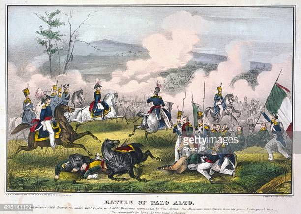 Battle of Palo Alto 8 May 1846 near what is now Brownsville Texas US force sunder General Zachary Taylor defeated Mexicans Litograph
