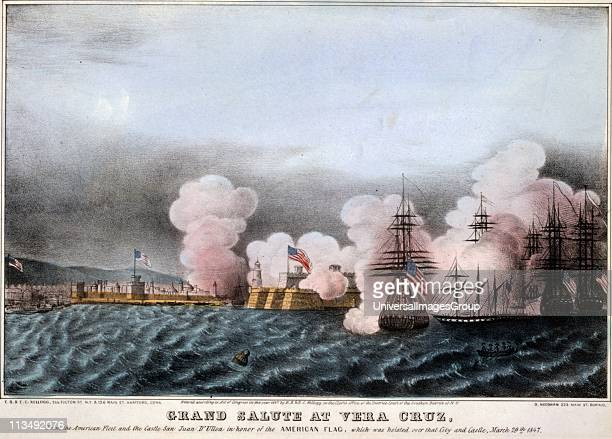 Mexican-American War 1846-1848: Battle of Vera Cruz, 20 day siege of the city 9-29 March 1847. American fleet saluting the raising of Stars and...