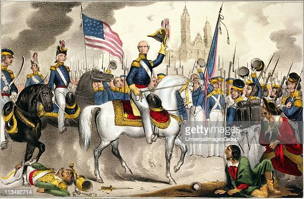 Mexican-American War 1846-1848: General Winfield Scott, commander of the US Army of the North, making a triumphal entry into Mexico City on a white...