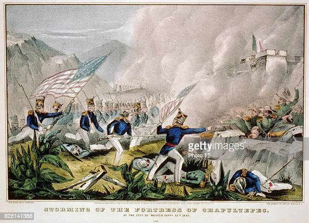 Mexican-American War 1846-1848: US forces under Winfield Scott_storming the Fortress of Chapultepec, Mexico City. Hand-coloured engraving.