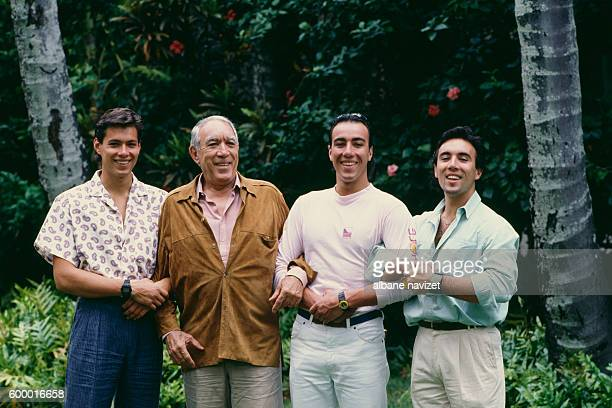 Mexicanborn American actor painter and writer Anthony Quinn surrounded by his three sons Daniele Quinn Italian artist and sculptor Lorenzo Quinn and...