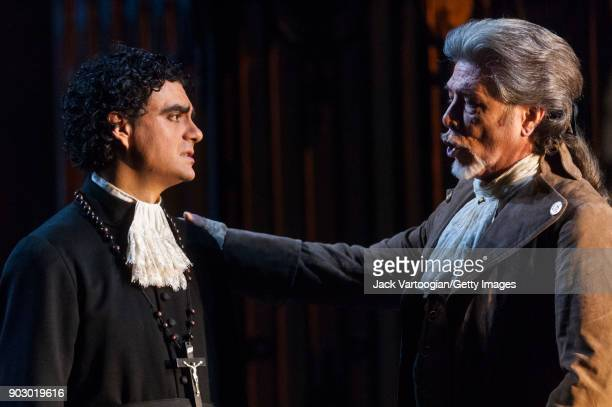 Mexicanborn French tenor Rolando Villazon and American bass Samuel Ramey perform during the final dress rehearsal of Act 3 scene 2 of the...