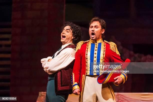 Mexicanborn French tenor Rolando Villazon and Polish baritone Mariusz Kwiecien perform during the final dress rehearsal of Act 2 of the Metropolitan...