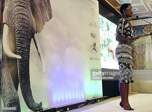 Mexicanborn Oscaraward winning Kenyan actress Lupita Nyong'o delivers a speech during a press conference at the Villa Rosa Kempinski hotel in Nairobi...