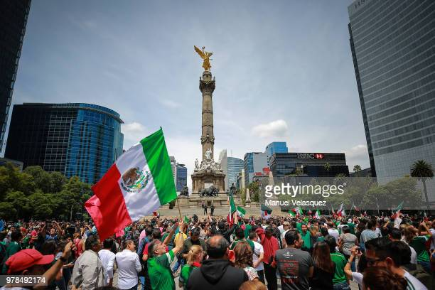 Mexicans celebrate at the Angel of Independence after the Mexico National Team victory over Germany in the 2018 FIFA World Cup Russia on June 17,...