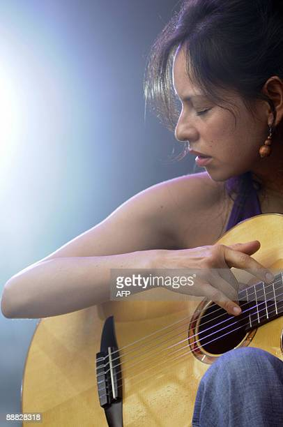 Mexicans Gabriela Quintero and Rodrigo Sanchez perform during the 21st edition of the Eurockeennes music festival in Belfort, on July 5 2009, in...