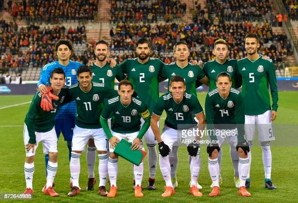 Mexican's national football team players pose for a picture prior their international friendly football match between Belgium and Mexico at the King...