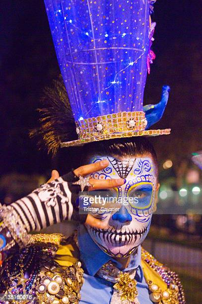 mexican-style skull facepaint and carnival costume - mardi gras photos stock pictures, royalty-free photos & images
