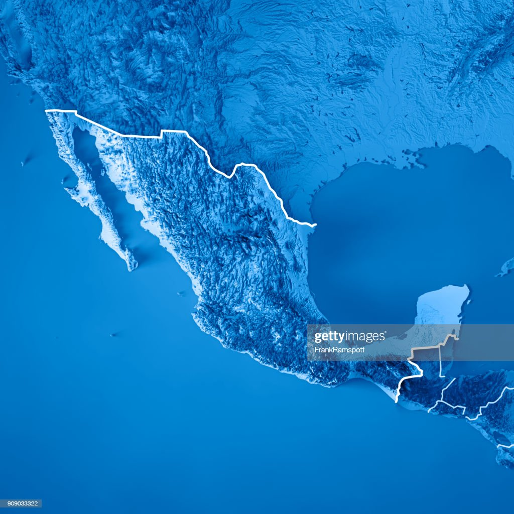 Mexico 3d Render Topographic Map Blue Border High-Res Stock ...