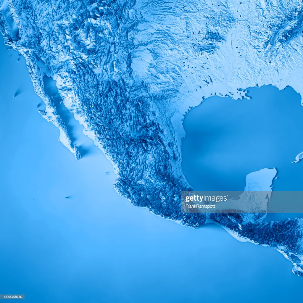 Mexico 3d Render Topographic Map Blue Stock Photo - Getty Images