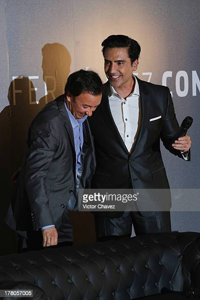 Mexico and Latin America Universal Music President Victor Gonzalez and Alejandro Fernandez attend a press conference to promote the new Alejandro...
