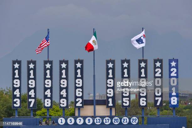 USA Mexico and MLB flags wave in the Estadio de Beisbol Monterrey prior the Houston Astros vs Los Angeles Angels of Anaheim match as part of the...