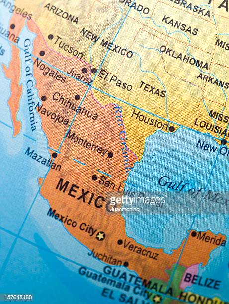 mexico and neighbor countries - mexico map stock photos and pictures