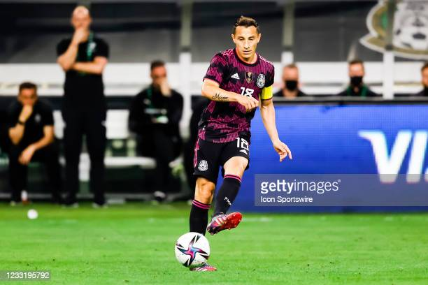 Mexico Andres Guardado passes the ball during the game between Mexico and Iceland on May 29, 2021 at AT&T Stadium in Arlington, Texas.