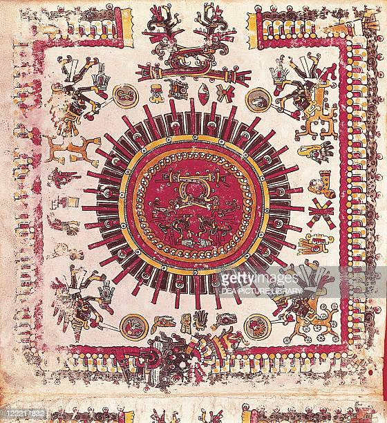 Mexico Aztec Art Aztec calendar Drawing from Codex Borgianus From Biblioteca Apostolica Vaticana