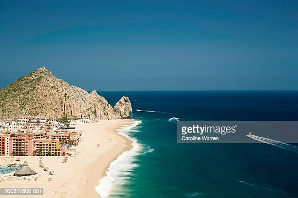 'Mexico, Baja, Cabo San Lucas, resorts on beach, elevated view'