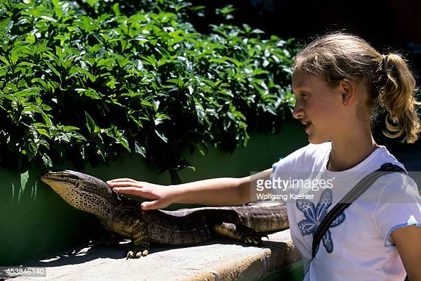 Mexico Baja California La Paz Serpentarium Girl With Monitor Lizard
