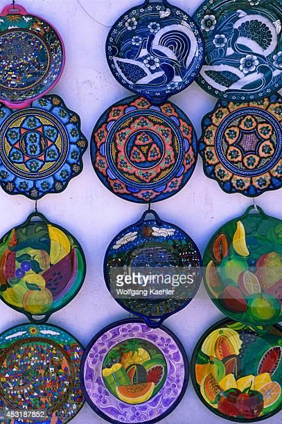 Mexico Baja California Loreto Street Scene Mexican Souviners Colorful Plates