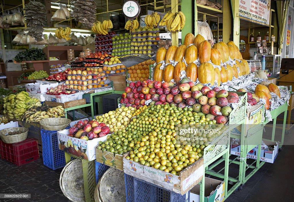 mexico baja tijuana hidalgo market fruit on display stock photo
