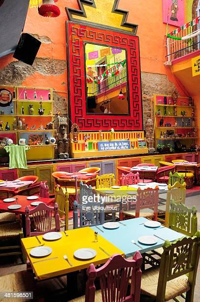 Mexico Bajio Queretaro Colorful restaurant interior