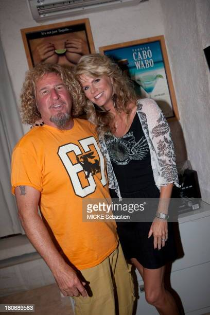 Mexico Cabo San Lucas October 2011 Sammy Hagar former singer and guitarist of Van Halen with his wife Kari He is the owner of 'Cabo Wabo Cantina' one...