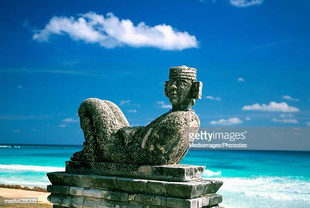 mexico, cancun beach, chac mool - mexican god stock pictures, royalty-free photos & images