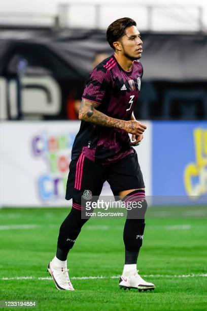 Mexico Carlos Salcedo in action during the game between Mexico and Iceland on May 29, 2021 at AT&T Stadium in Arlington, Texas.