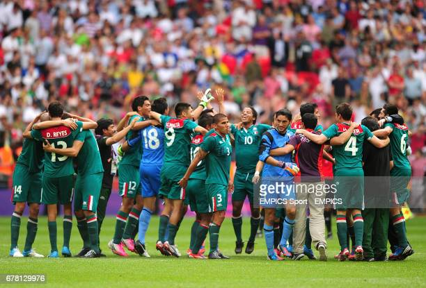 Mexico celebrate victory over Brazil in the Football Men's Gold Medal Match between Mexico and Brazil