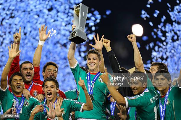 Mexico celebrates a win over Honduras in the 2012 CONCACAF Men's Olympic Qualifying Finals at Livestrong Sporting Park on April 2 2012 in Kansas City...