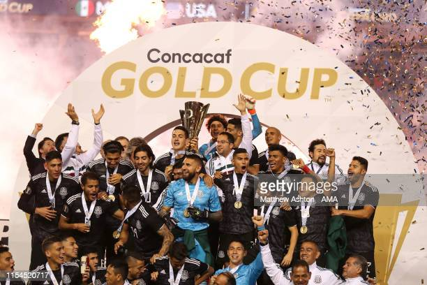 Mexico celebrates with the CONCACAF Gold Cup trophy after beating USA 1-0 in the 2019 CONCACAF Gold Cup Final between Mexico and United States of...