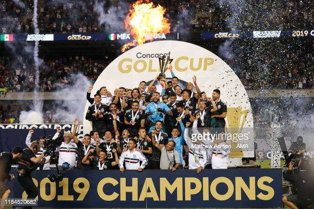 Mexico celebrates with the CONCAFA trophy after beating USA 1-0 the 2019 CONCACAF Gold Cup Final between Mexico and United States of America at...