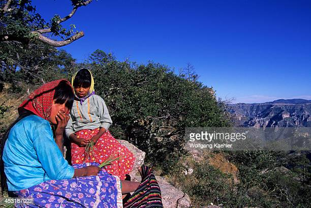 Mexico Chihuahua Copper Canyon National Park Tarahumara Indian Girls Weaving Pine Needle Baskets
