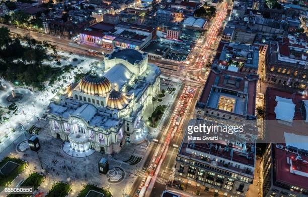 Mexico City - Aerial of Palacio de Bellas Artes and Surroundings at Twilight