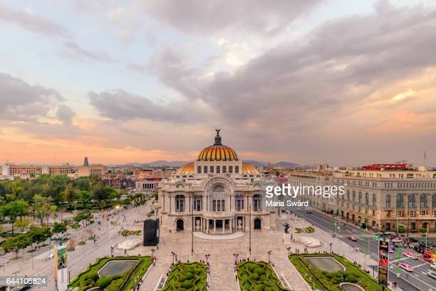mexico city - aerial of palacio de bellas artes at sunset - mexico city stock pictures, royalty-free photos & images