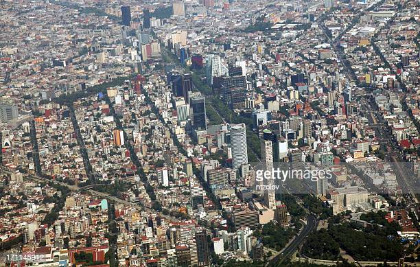 mexico city aerial view of the financial area - avenue stock pictures, royalty-free photos & images