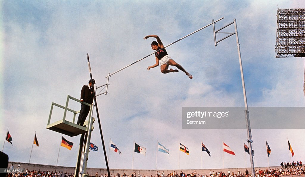 Bob Seagren of the United States in first vault of the day. He went on to win the Gold medal this day in the 1968 Olympics.