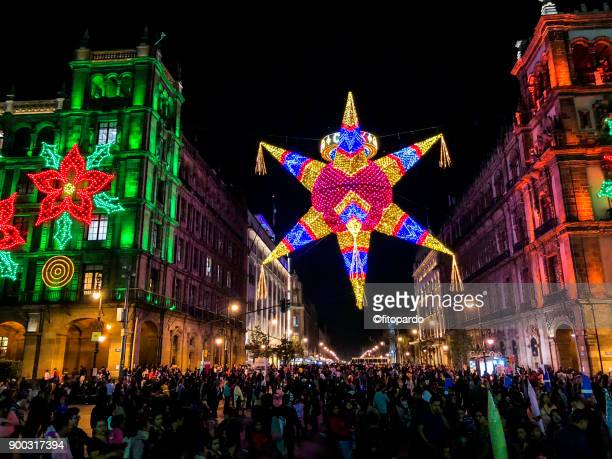 mexico city christmas street decorations - mexican christmas stock photos and pictures