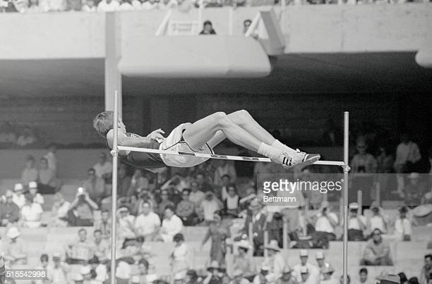 'Fosbury Flop' Dick Fosbury of the United States ascends towards the bar employing his novel 'Fosbury Flop' a style of highjumping head first on his...