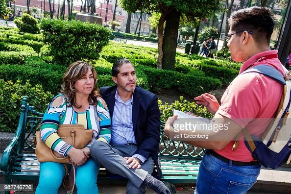 Mexico City Jardin Plaza Hidalgo Public Park Couple On Bench