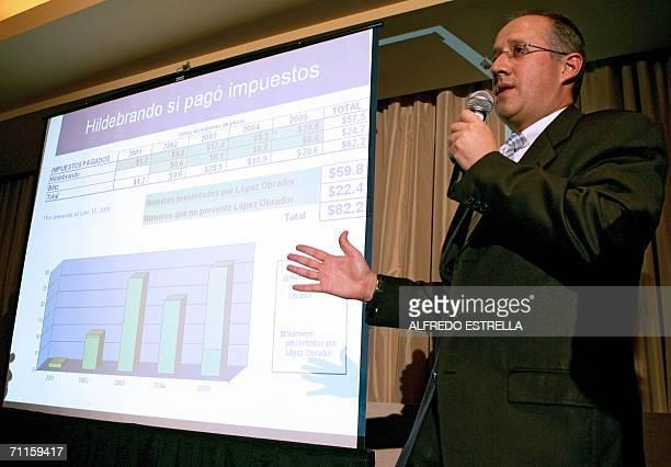 Diego Zavala cunado del candidato presidencial derechista Felipe Calderon del Partido de Acccion Nacional explica los ingresos y movimientos de la...