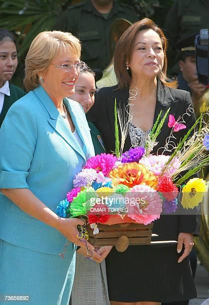 La presidenta de Chile, Michelle Bachelet y la secretaria de educacion publica, Josefina Vasquez Mota durante una ceremonia de donacion de libros y...
