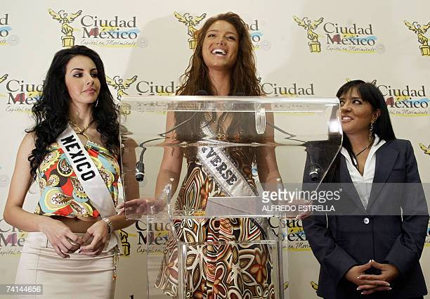 Miss Mexico 2007 Rosa Maria Ojeda Puerto Rican Miss Universe 2006 Zuleika Rivera and Alejandra Barrales of Mexico's Tourist Department are seen...