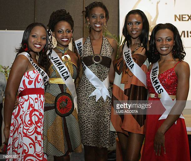 Miss Turks and Caicos Saneita Been Miss Jamaica Zhara Redwood Miss Barbados Jewel Garner Miss Zambia Rose Mary Chileshe and Miss Bahamas Trinere...