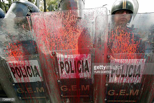 Riot policemen block the way to supporters of the Democratic Revolution Party who protest against the inauguration of Mexican new president Felipe...