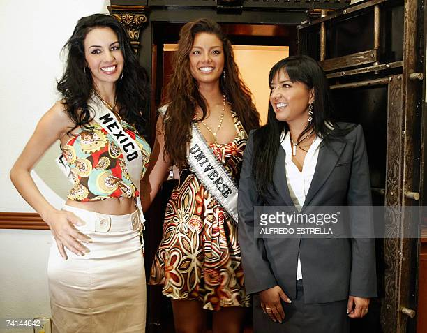 Rosa Maria Ojeda Miss Mexico 2007 Puerto Rican Zuleika Rivera Miss Universe 2006 and Alejandra Barrales member of the Department of Tourism of Mexico...