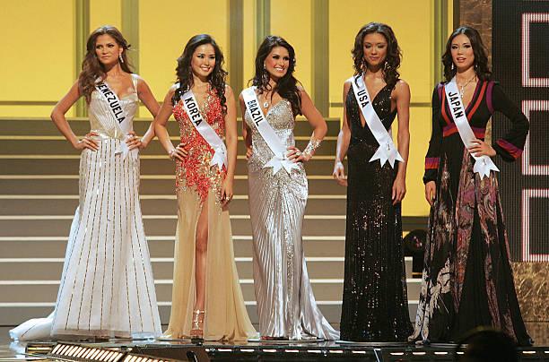 The five finalists Miss Venezuela Ly Jonaitis Miss Korea Honey Lee Miss Brazil Natalia Guimaraes Mss USA Rachel Smith and Miss Japan Riyo Mori during...