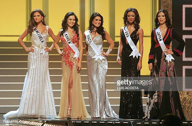 The five finalists Miss Venezuela Ly Jonaitis Miss Korea Honey Lee Miss Brazil Natalia Guimaraes Mss USA Rachel Smith and Miss Japan Riyo Mori during...