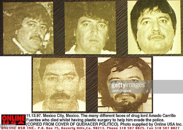 111297 Mexico City Mexico The many different faces of''drug lord'' Amado Carrillo Fuentes who died whilst having plastic surgery to change his...